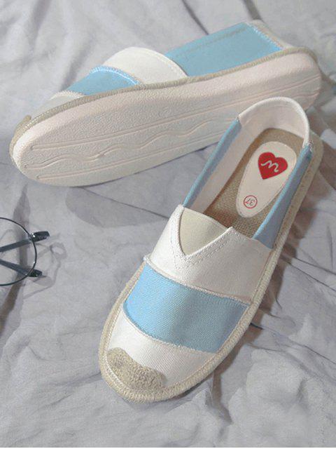 Zapatos planos de la lona rayada de la banda elástico - Azul Claro 39 Mobile