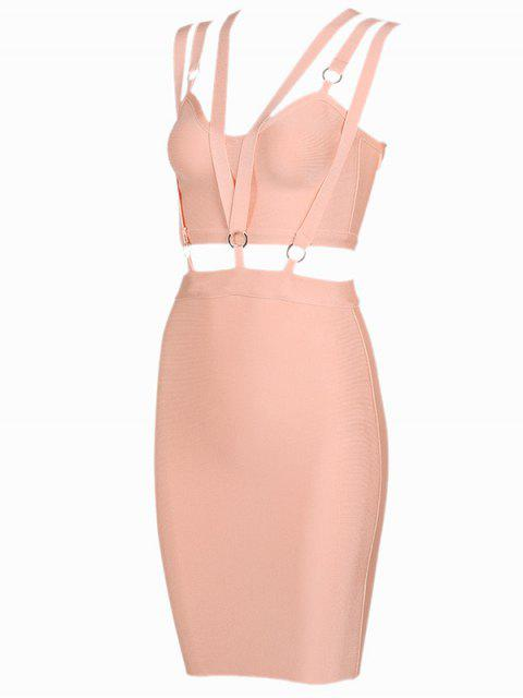 outfit Zippered Cut Out Fitted Dress - ORANGEPINK M Mobile