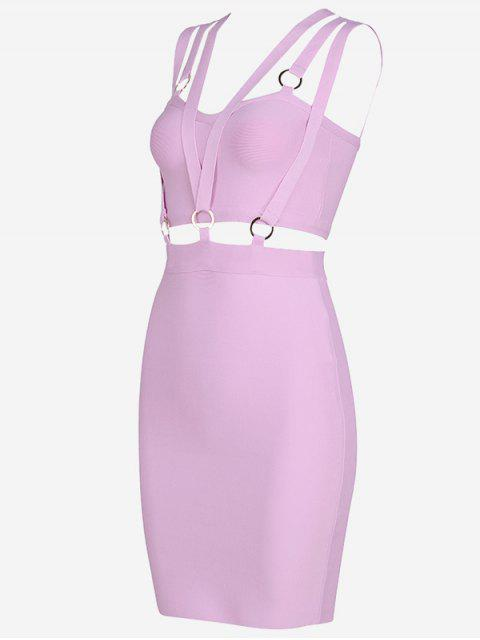 fashion Zippered Cut Out Fitted Dress - PINKISH PURPLE M Mobile