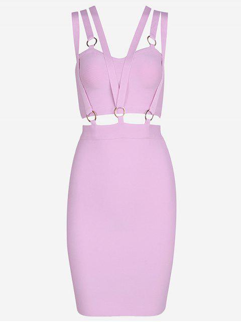fancy Zippered Cut Out Fitted Dress - PINKISH PURPLE S Mobile