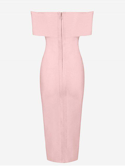 womens Off The Shoulder Side Slit Fitted Dress - PINK M Mobile