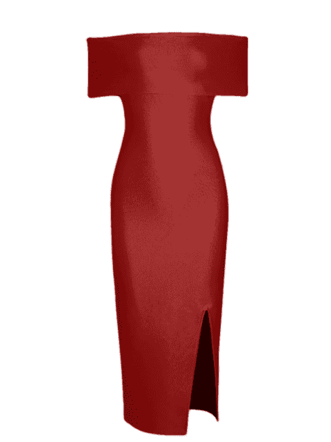 women's Off The Shoulder Side Slit Fitted Dress - RED L Mobile