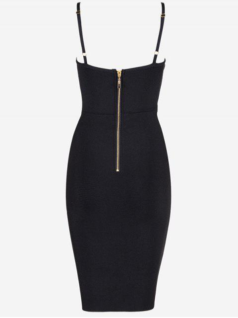 hot Embellished Cami Bandage Dress - BLACK L Mobile