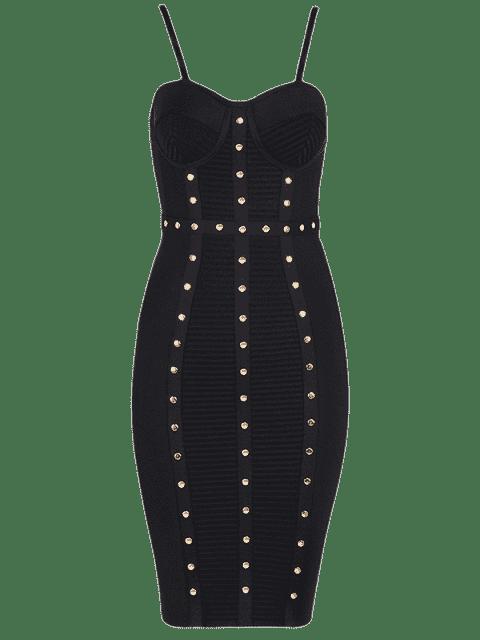 outfits Embellished Cami Bandage Dress - BLACK S Mobile