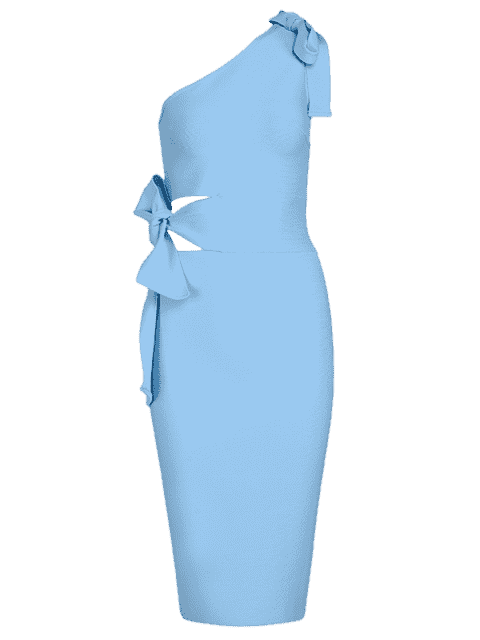 trendy One Shoulder Cut Out Fitted Dress - SKY BLUE L Mobile