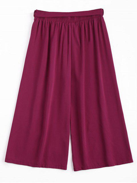 chic Capri High Waisted Belted Wide Leg Pants - PURPLISH RED ONE SIZE Mobile