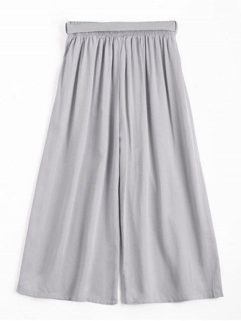fancy Capri High Waisted Belted Wide Leg Pants - GRAY ONE SIZE Mobile