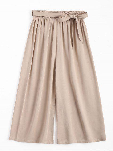 sale Capri High Waisted Belted Wide Leg Pants - LIGHT KHAKI ONE SIZE Mobile