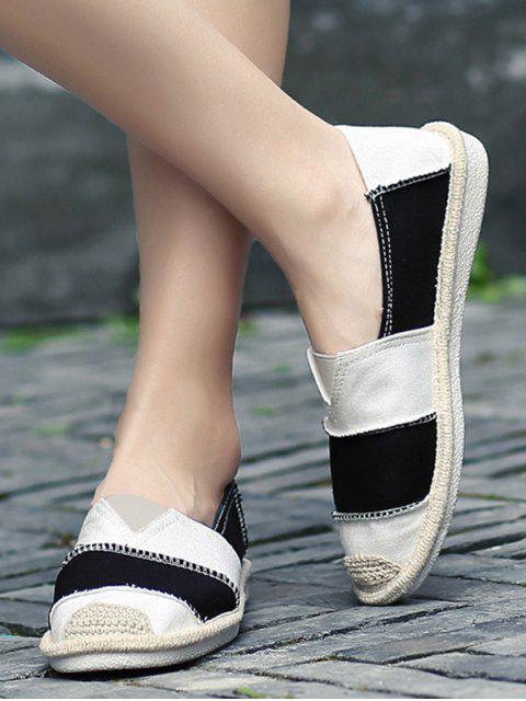best Elastic Band Striped Canvas Flat Shoes - BLACK 37 Mobile