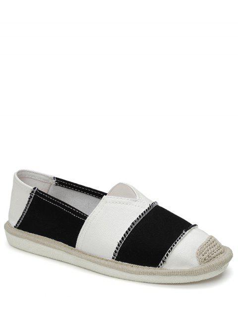 hot Elastic Band Striped Canvas Flat Shoes - BLACK 40 Mobile
