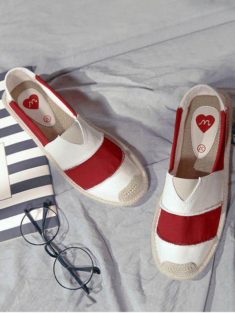 shop Elastic Band Striped Canvas Flat Shoes - RED 37 Mobile