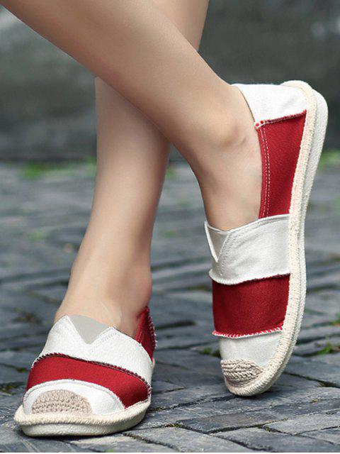 shops Elastic Band Striped Canvas Flat Shoes - RED 38 Mobile