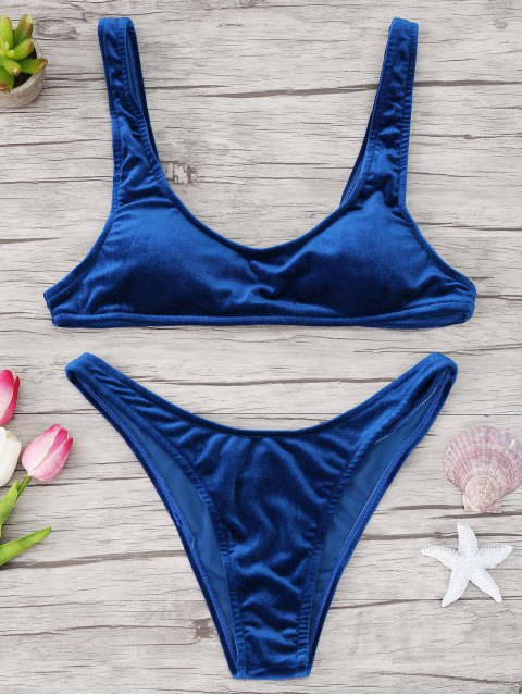 womens High Cut Velvet Bikini Set - BLUE L Mobile