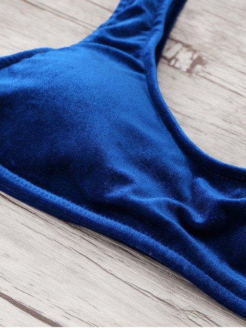 women's High Cut Velvet Bikini Set - BLUE S Mobile