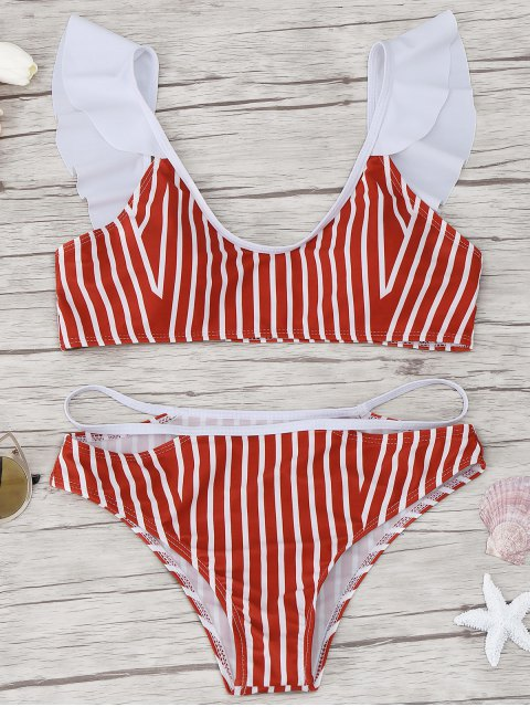 ladies Frilled Striped Bikini Set - RED L Mobile