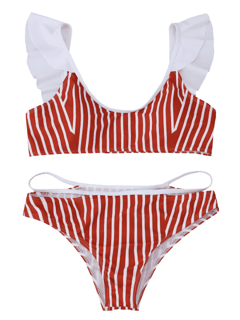 best Frilled Striped Bikini Set - RED S Mobile