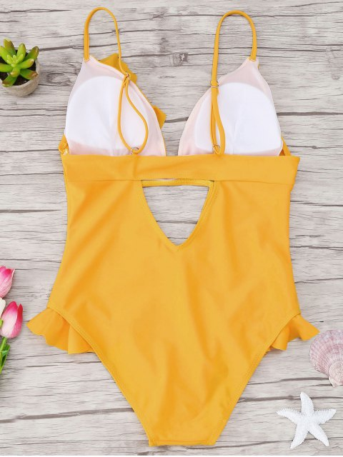 hot Cutout Frilled One Piece Swimsuit - YELLOW S Mobile