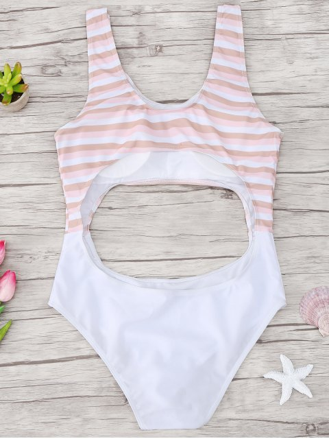 outfit Cutout Striped One Piece Swimsuit - LIGHT PINK L Mobile