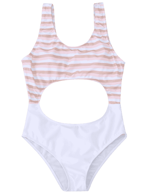 outfits Cutout Striped One Piece Swimsuit - LIGHT PINK M Mobile