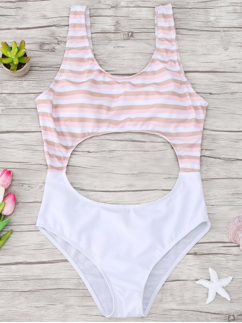 shop Cutout Striped One Piece Swimsuit - LIGHT PINK S Mobile
