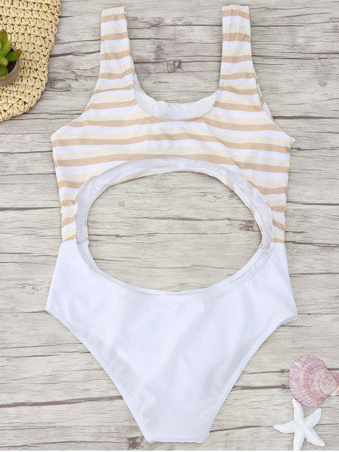 trendy Cutout Striped One Piece Swimsuit - YELLOW S Mobile