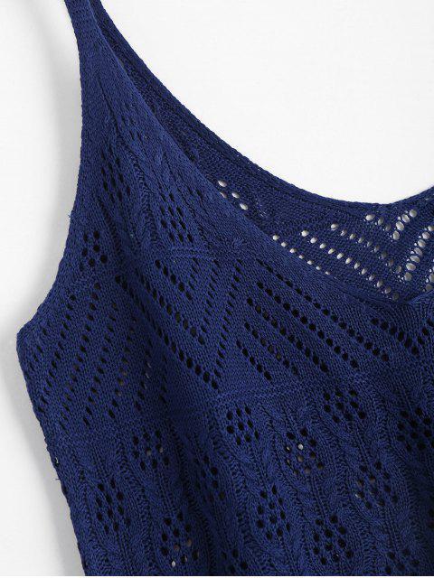 unique Vest V Neck Sheer Sweater - PURPLISH BLUE XL Mobile