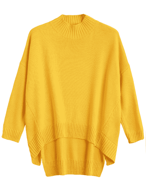 online High Low Oversized High Neck Sweater - YELLOW S Mobile