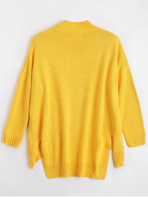 hot High Low Oversized High Neck Sweater - YELLOW L Mobile