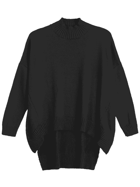shop High Low Oversized High Neck Sweater - BLACK S Mobile