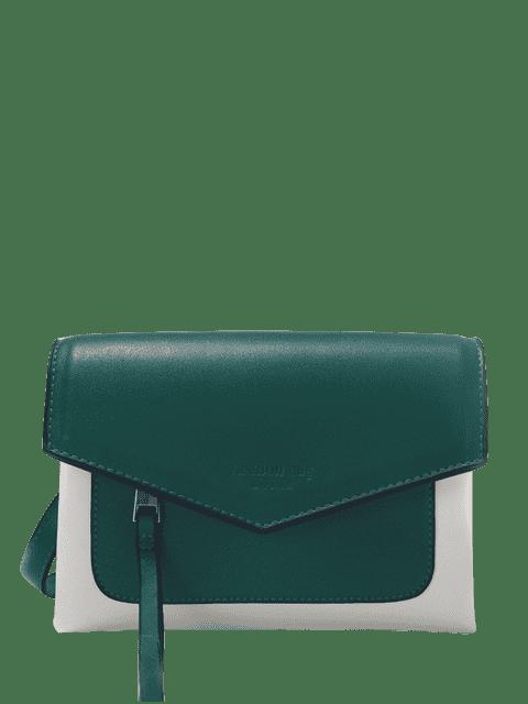 latest Color Block Envelope Crossbody Bag - GREEN  Mobile