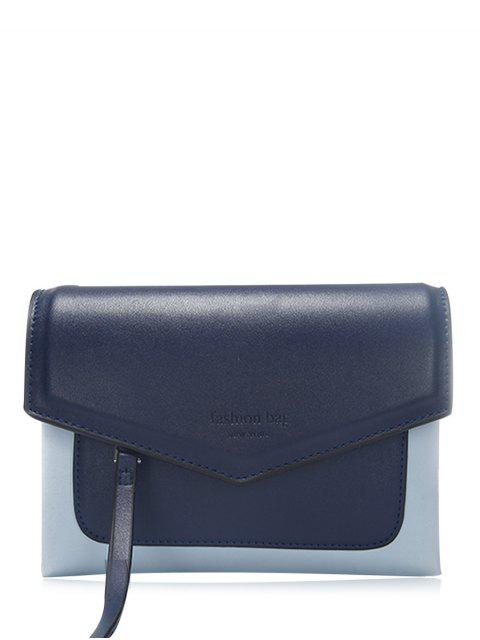 trendy Color Block Envelope Crossbody Bag - DEEP BLUE  Mobile