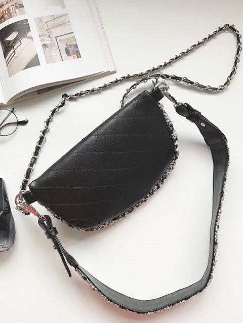 chic Quilted Plaid Pattern Chain Crossbody Bag - BLACK  Mobile