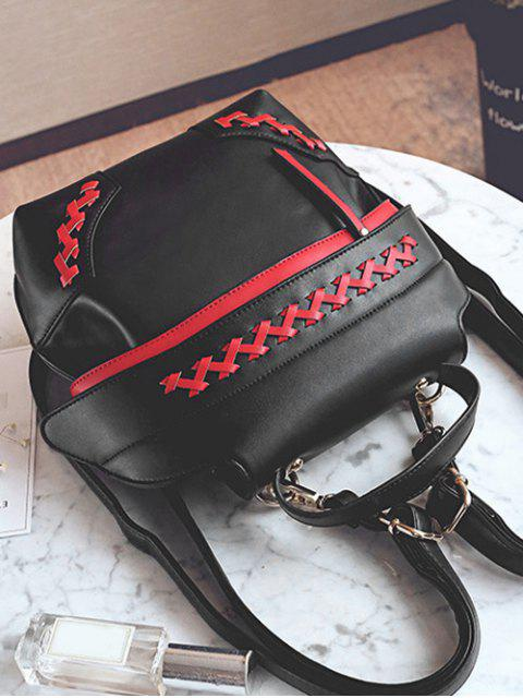 fancy Weave Faux Leather Colour Block Backpack - RED WITH BLACK  Mobile
