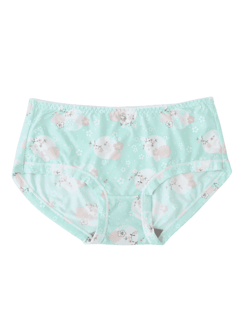 sale Hipster Flower Print Mid Waist Panties - LIGHT GREEN ONE SIZE Mobile