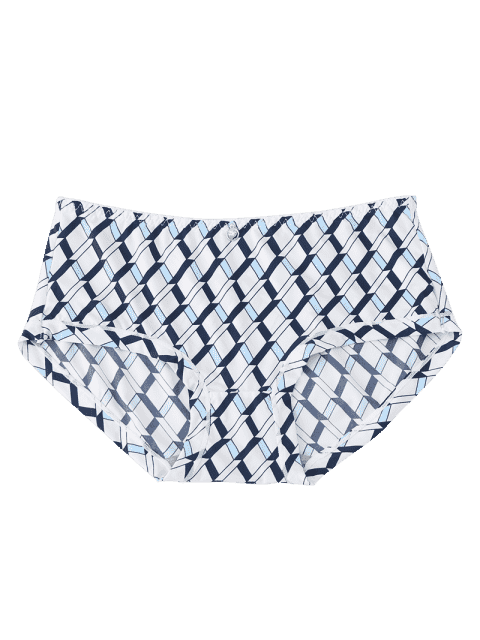 best Hipster Grid Print Mid Waist Panties - WHITE ONE SIZE Mobile