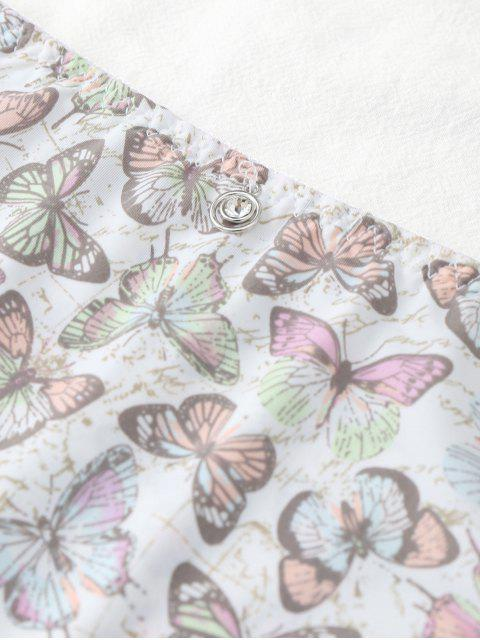 new Hipster Butterfly Print Mid Waist Panties - WHITE ONE SIZE Mobile