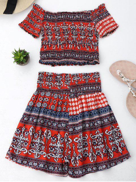Ensemble Tribal Print Crop Top et Skorts - Rouge L Mobile