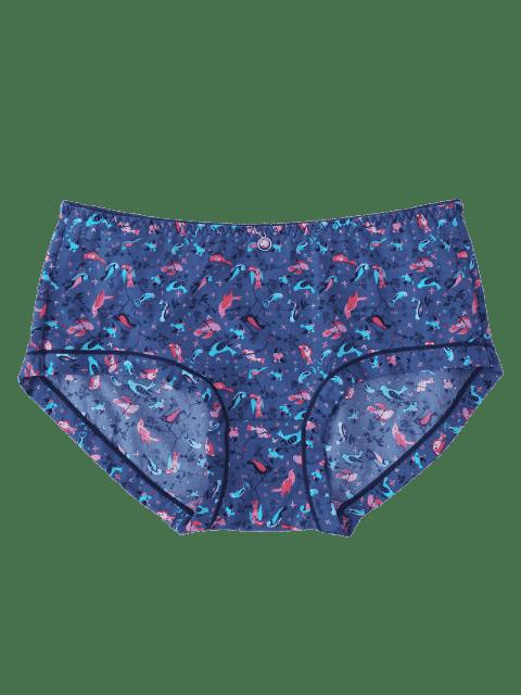 hot Hipster Bird Print Mid Waist Panties - DEEP BLUE ONE SIZE Mobile