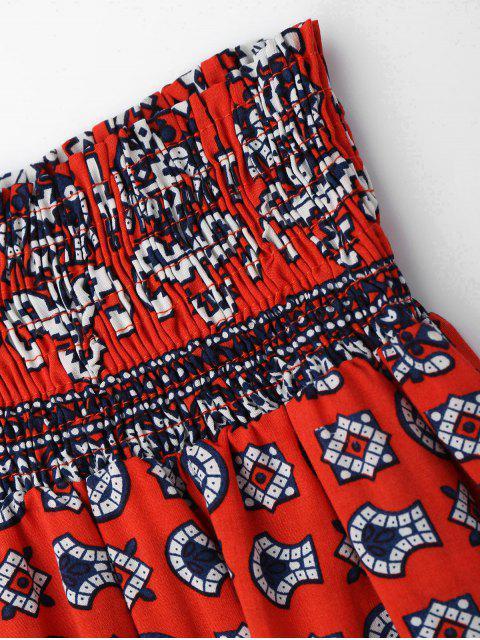 Ensemble Tribal Print Crop Top et Skorts - Rouge M Mobile