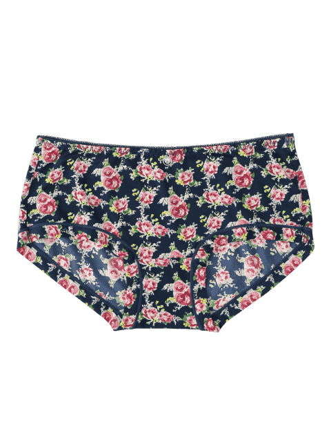 fashion Mid Waist Hipster Tiny Flower Panties - DEEP BLUE ONE SIZE Mobile