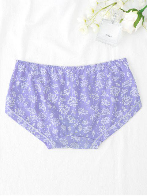 fancy Under Smooth Leaf Print Hipster Panties - PURPLE ONE SIZE Mobile
