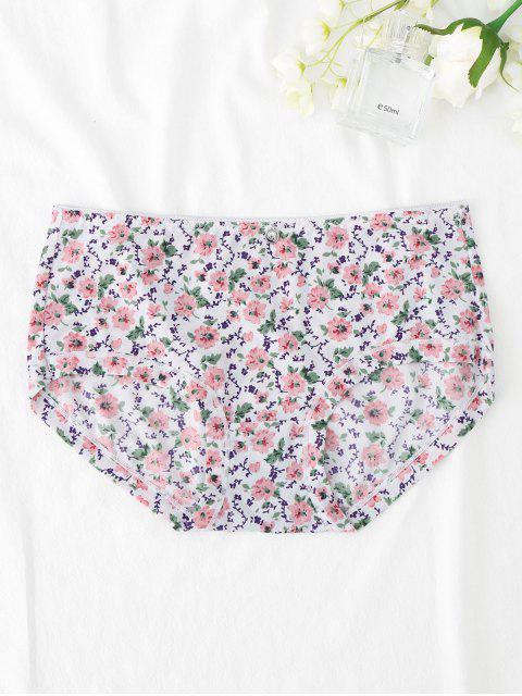sale Smooth Hipster Tiny Floral Panties - WHITE XL Mobile