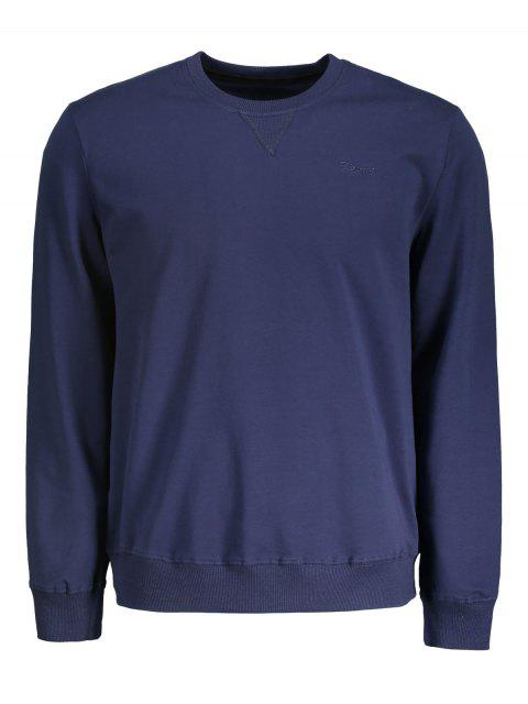 affordable Mens Crew Neck Sweatshirt - PURPLISH BLUE L Mobile