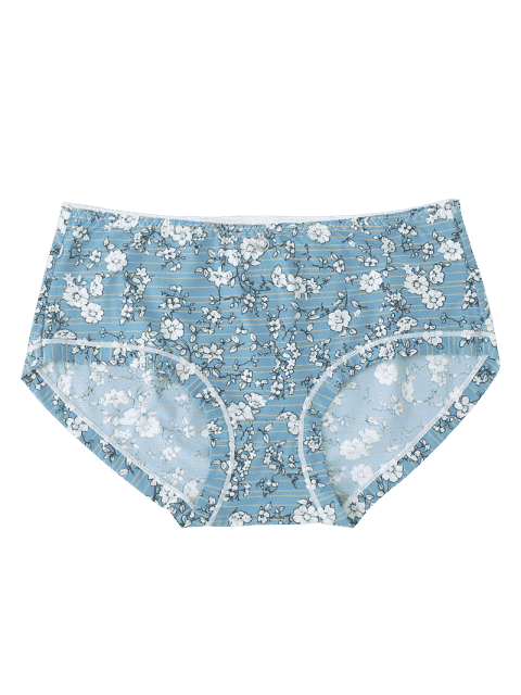 best Mid Waist Striped Flower Hipster Panties - STONE BLUE ONE SIZE Mobile