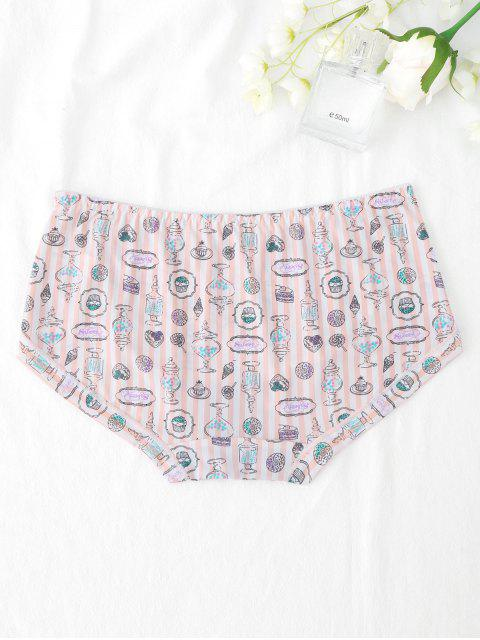 new Mid Waist Striped Smooth Hipster Panties - PINK ONE SIZE Mobile