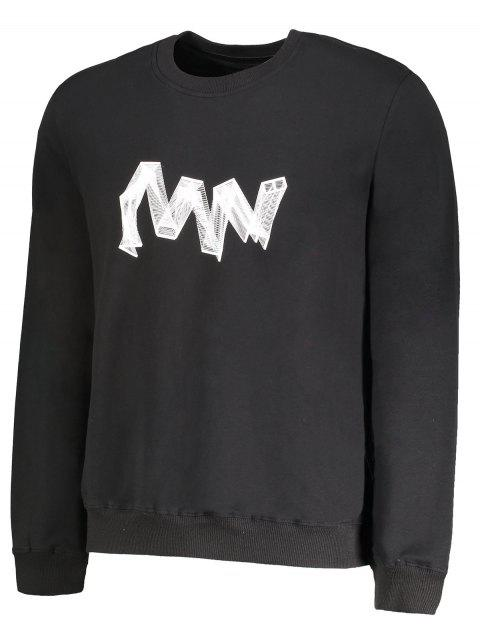 outfits Crew Neck Graphic Pullover Sweatshirt - BLACK 2XL Mobile
