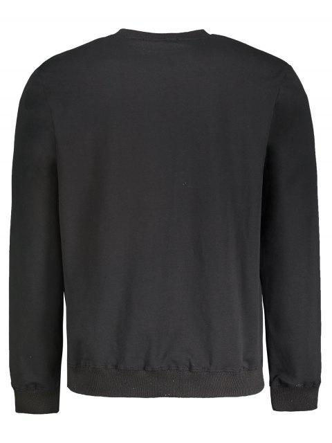 trendy Crew Neck Graphic Pullover Sweatshirt - BLACK L Mobile