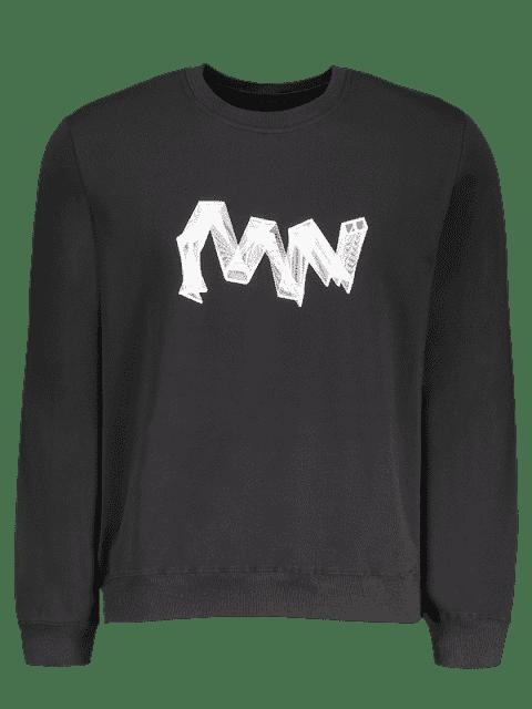 chic Crew Neck Graphic Pullover Sweatshirt - BLACK M Mobile