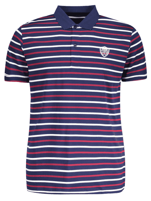 affordable Stripe Polo Shirt - PURPLISH BLUE 2XL Mobile
