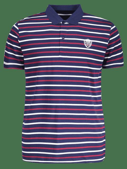 Polo à rayures - Bleu Violet XL Mobile
